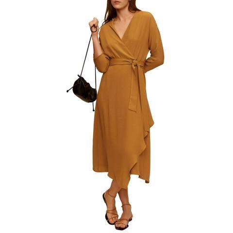 Mango Mustard Wrapped Midi Dress