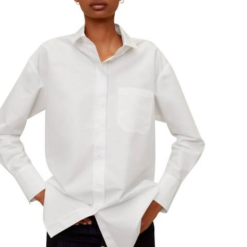 Mango Off White Pocket Oversize Shirt