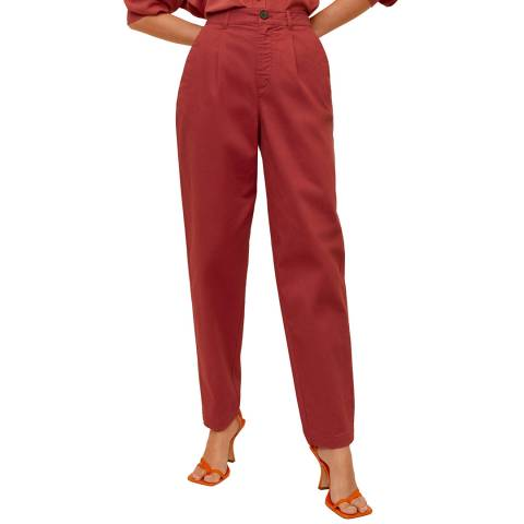 Mango Coral Red Relaxed Fit Cropped Trousers