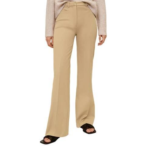 Mango Medium Brown Flared Cotton Trousers