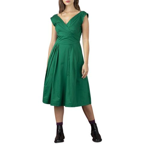 Emily and Fin Green Cotton Satin Florence Dress