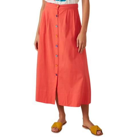Emily and Fin Cadmium Red Cotton Linen Brianna Skirt