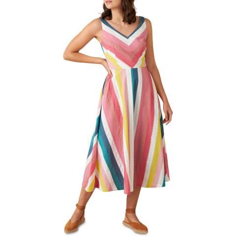 Emily and Fin Summer Rainbow Stripe Margot Midi Dress