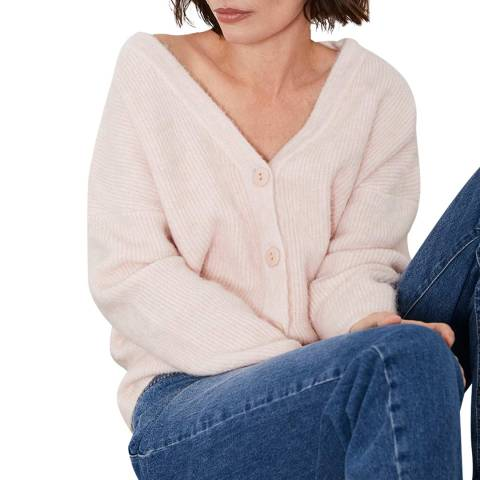 Mint Velvet Blush Pink Fluffy Wool Blend Cardigan