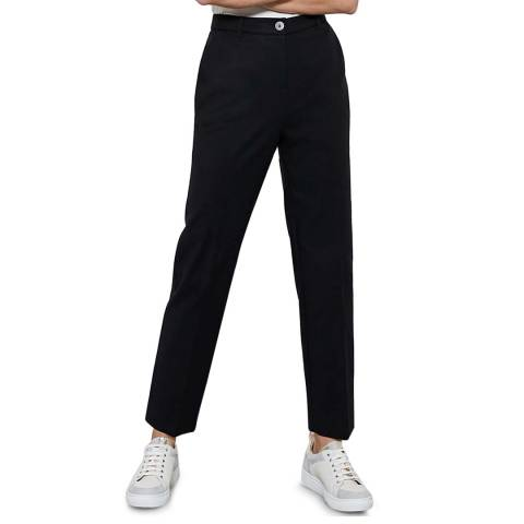 Mint Velvet Black Buttoned Capri Trousers