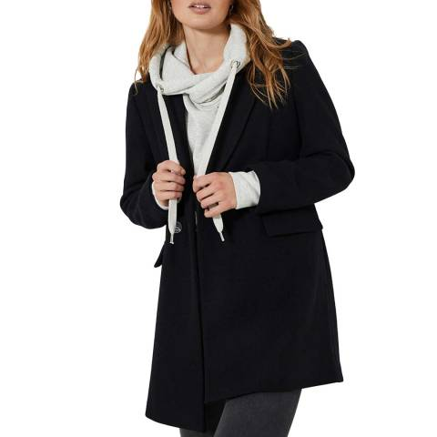 Mint Velvet Black Double Breasted Wool Blend Coat