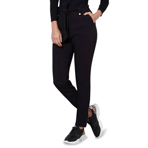 Mint Velvet Black Belted Cigarette Trouser