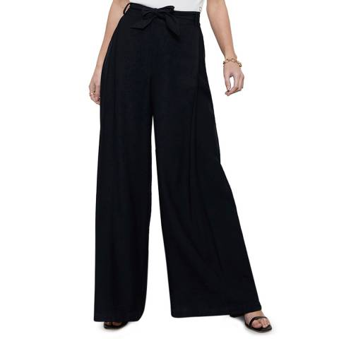 Mint Velvet Black Belted Wide Leg Trouser