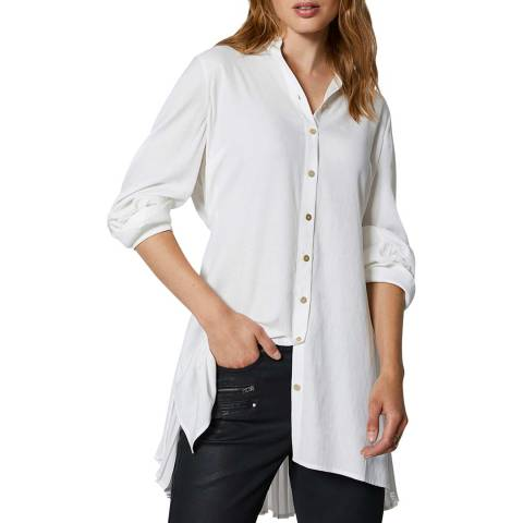 Mint Velvet White Pleated Long Shirt
