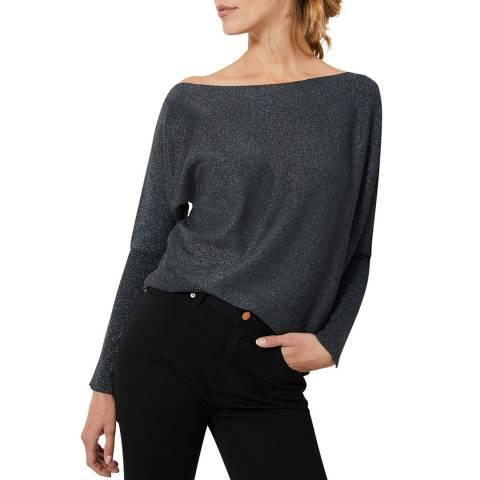 Mint Velvet Grey Metallic Wool Blend Batwing Jumper