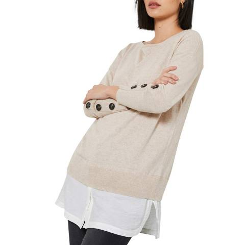 Mint Velvet Beige Layered Cashmere Blend Jumper