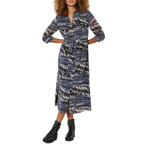 Mint Velvet Blue Mika Print Shirt Midi Dress