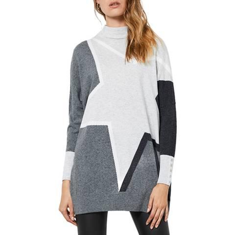 Mint Velvet Grey Blocked Cashmere Blend Jumper