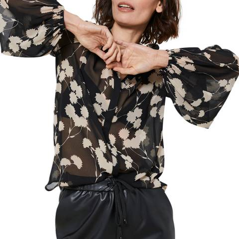 Mint Velvet Black Abi Floral Print V-Neck Blouse