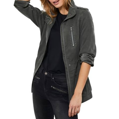 Mint Velvet Khaki Studded Washed Jacket
