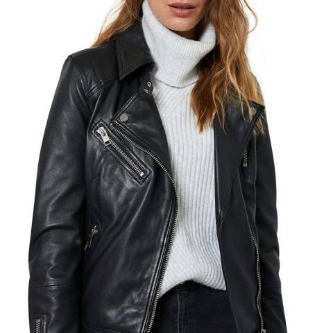 Mint Velvet Black Zip Leather Jacket