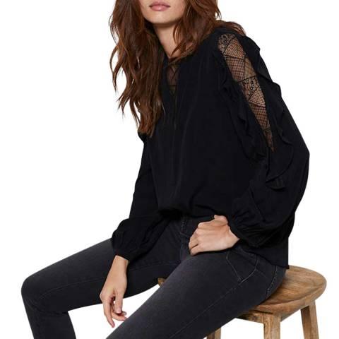 Mint Velvet Black Lace Insert Ruffled Top