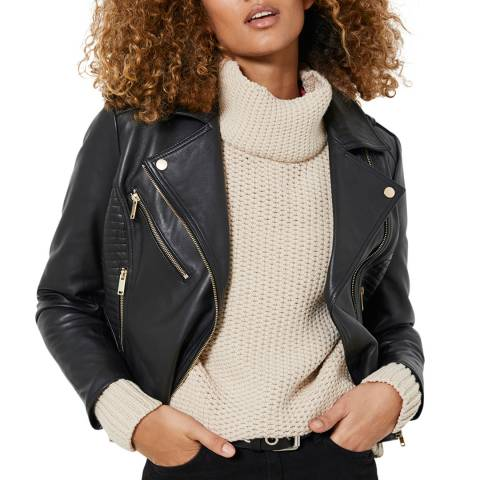 Mint Velvet Black Fitted Leather Jacket