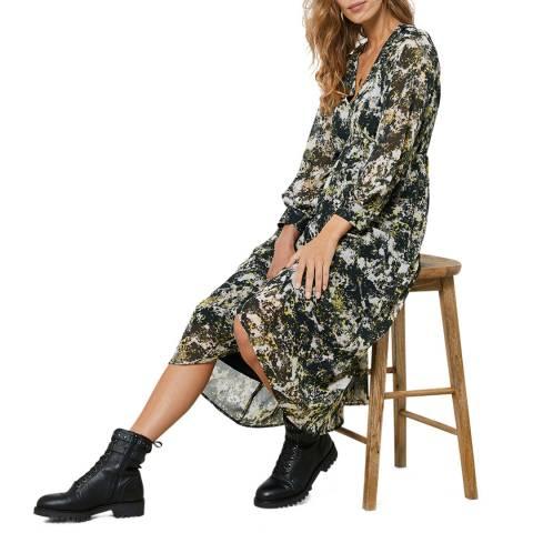 Mint Velvet Green Gabi Print Crinkle Midi Dress