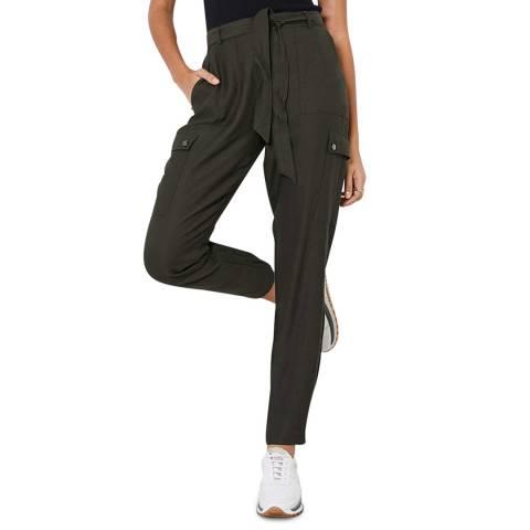 Mint Velvet Khaki Belted Cargo Trousers
