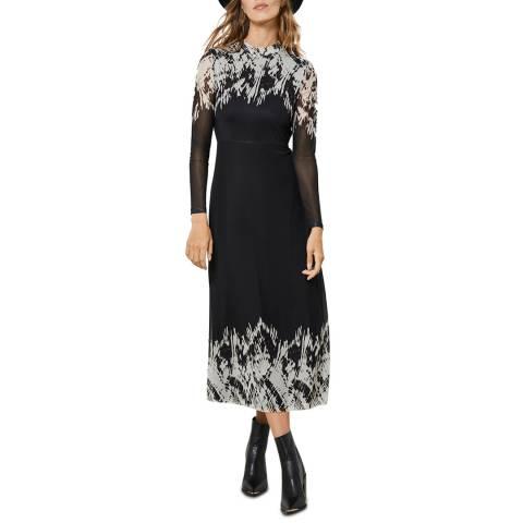 Mint Velvet Black Ava Print Mesh Midi Dress