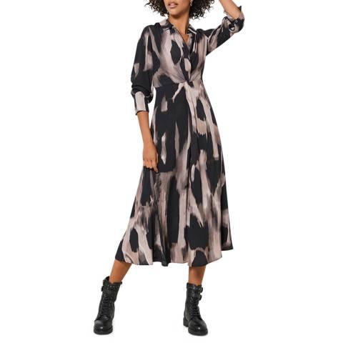Mint Velvet Pink Nova Print Twist Shirt Dress