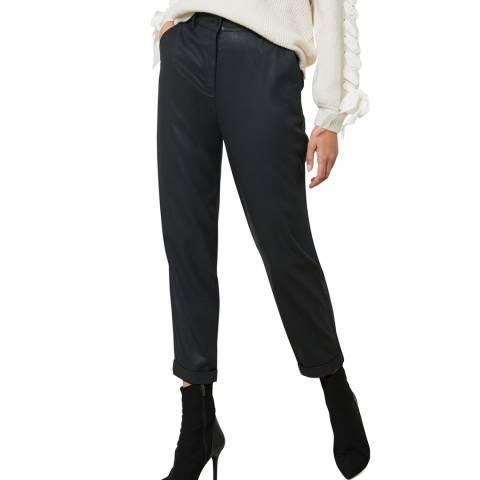 Mint Velvet Black Coated Tapered Trousers