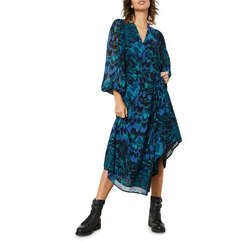 Mint Velvet Blue Alma Print Wrap Midi Dress