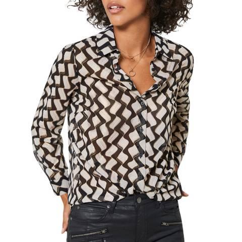Mint Velvet Black Gianna Foil Print Shirt