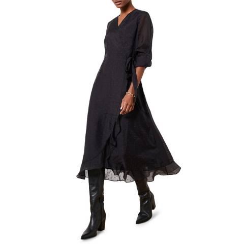 Mint Velvet Black Spot Wrap Midi Dress