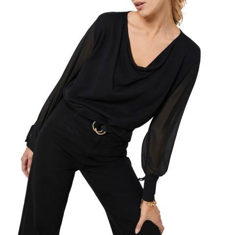 Mint Velvet Black Wool Blend Cowl Neck Jumper
