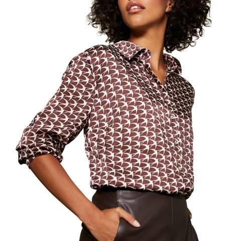 Mint Velvet Dark Brown Penny Print Oversized Shirt