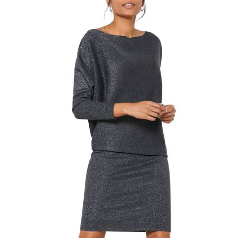 Mint Velvet Grey Wool Blend Metallic Jumper Dress