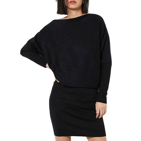 Mint Velvet Black Wool Blend One Shoulder Knit Dress