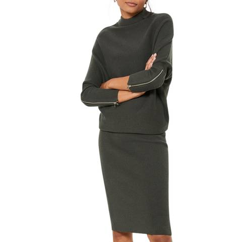 Mint Velvet Khaki Wool Blend Knit Dress