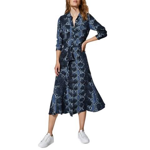 Mint Velvet Blue Venus Snake Print Shirt Dress
