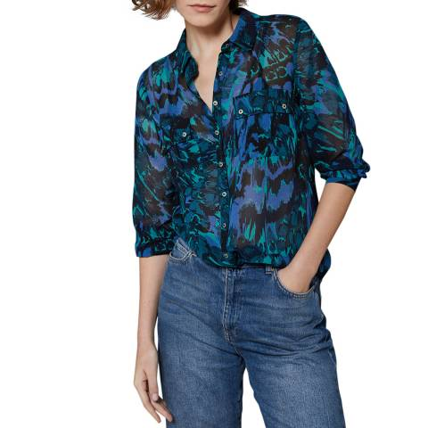 Mint Velvet Blue Alma Print Tie Back Shirt