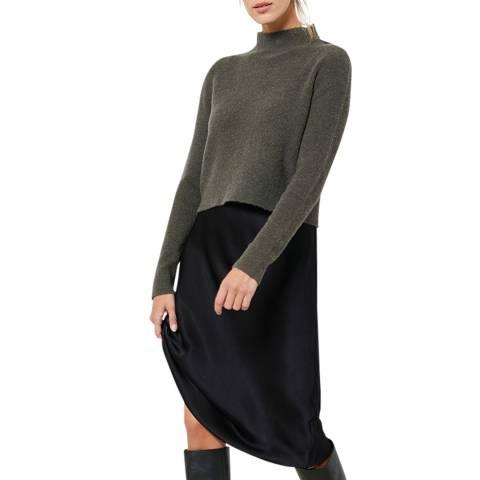 Mint Velvet Khaki Lace 2-in-1 Wool Blend Slip Dress