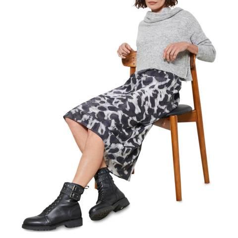 Mint Velvet Grey Alexa Print 2-in-1 Slip Dress