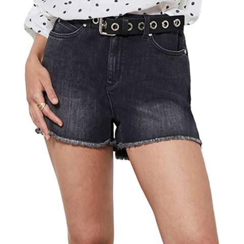Mint Velvet Black Frayed Hem Denim Shorts