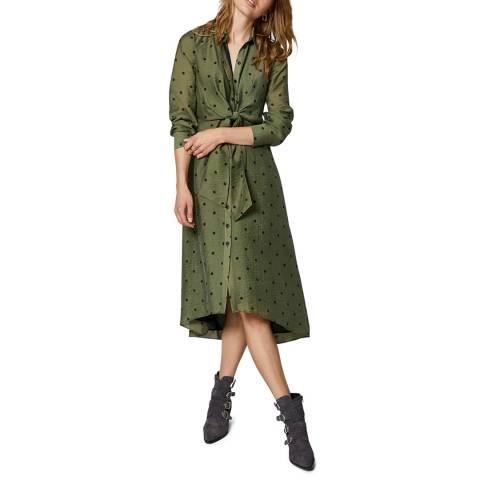 Mint Velvet Khaki Spot Midi Shirt Dress