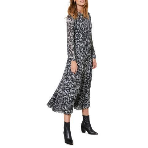 Mint Velvet Poppy Print Crinkle Midi Dress