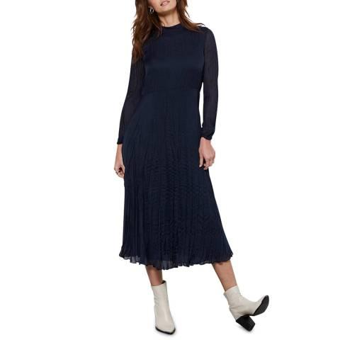 Mint Velvet Navy Crinkled Midi Dress