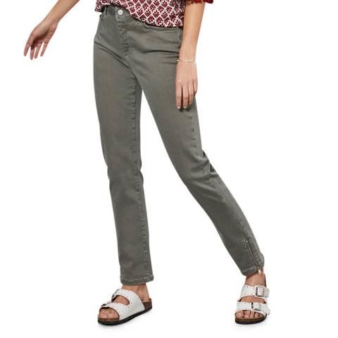 Mint Velvet Houston Khaki Zip Crop Jeans