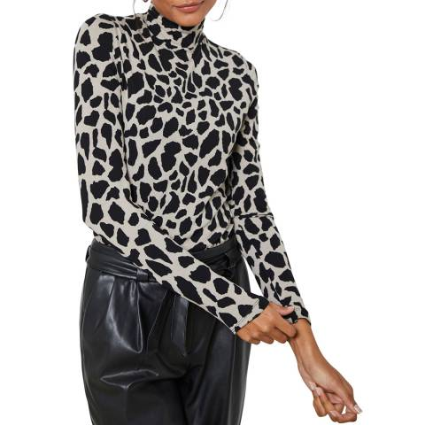 Mint Velvet Black Giraffe Print Polo Neck Top