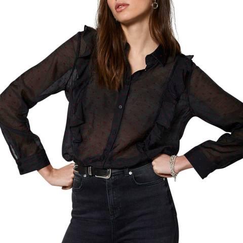 Mint Velvet Black Polka Dot Ruffled Shirt