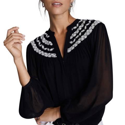 Mint Velvet Black Embellished Blouse