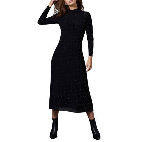 Mint Velvet Black Studded Midi Dress