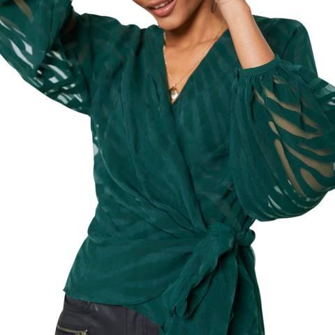 Mint Velvet Green Animal Wrap Top