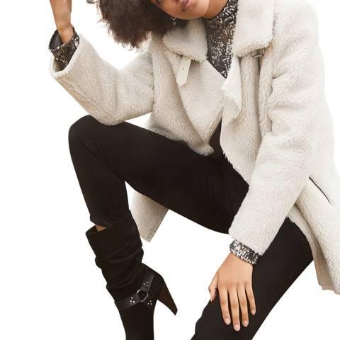 Mint Velvet Off-White Wool Blend Teddy Aviator Jacket